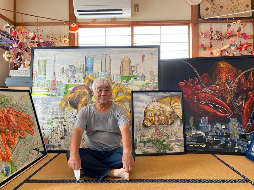 巨大生物が都市を破壊する危機を描く稲田泰樹さん